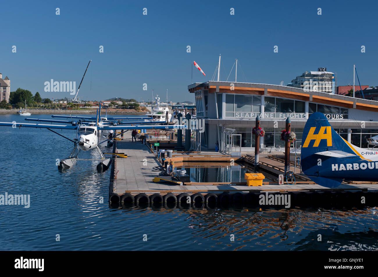 Float plane base at Victoria's inner harbour, Victoria, British Columbia, Canada. Stock Photo