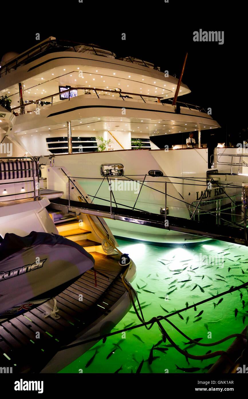 Lady Haya Super Yachts At Puerto Banus At Night With
