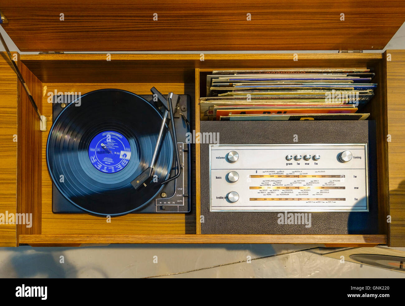 Vintage Retro Record Player Cabinet With Album And Radio Build In