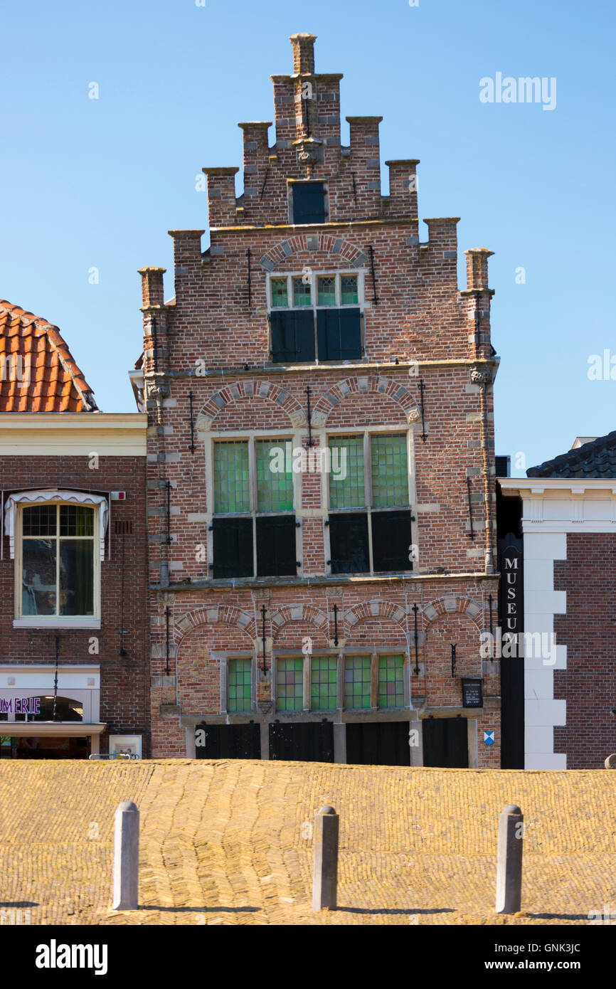 Traditional architecture lopsided ancient building of theTown Hall and Museum, Edam, The Netherlands - Stock Image