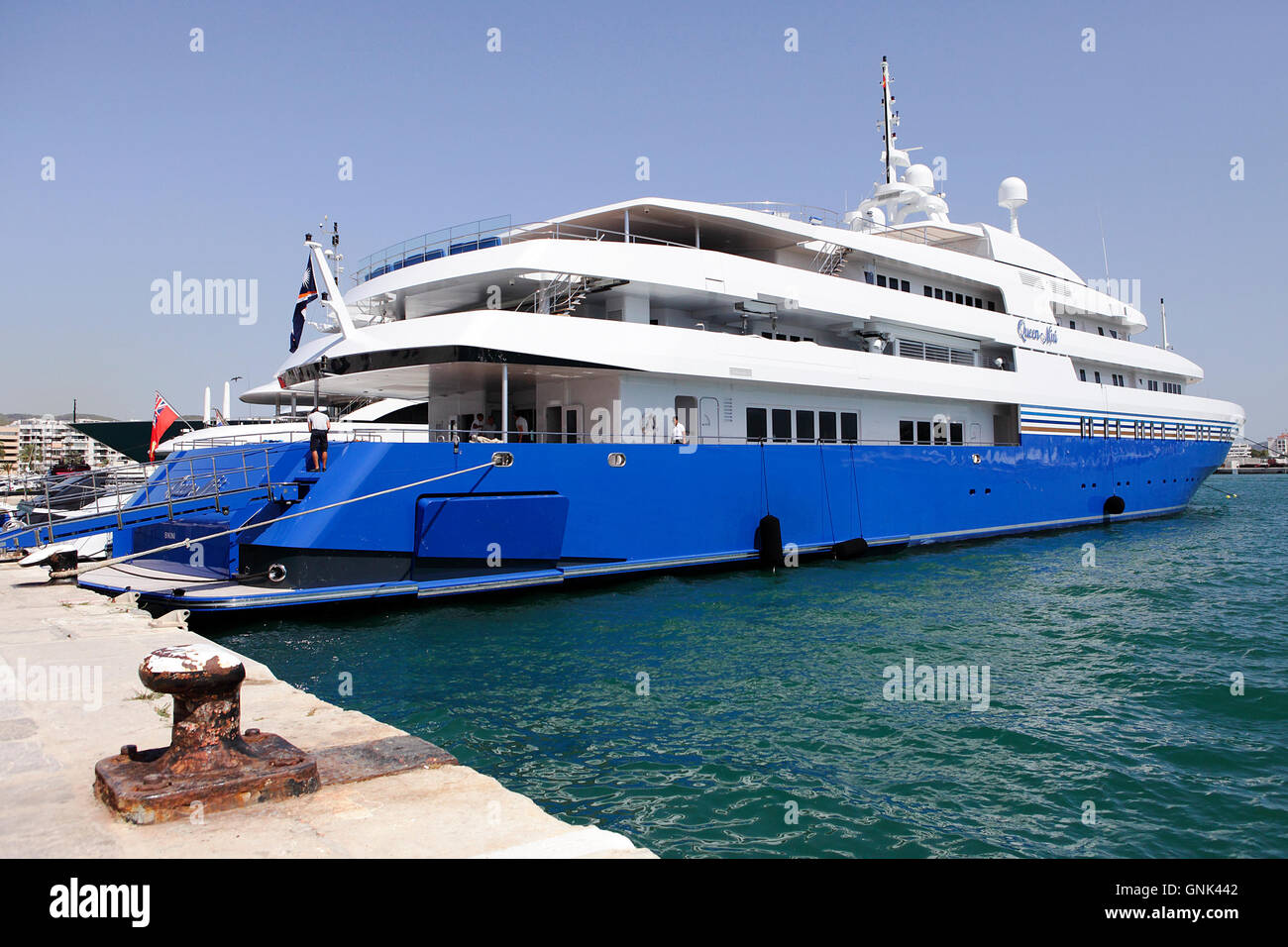 Various luxury yachts at their moorings in the Port at Old Town Ibiza (Eivissa). Seen here is the 'QUEEN MIRI'. - Stock Image