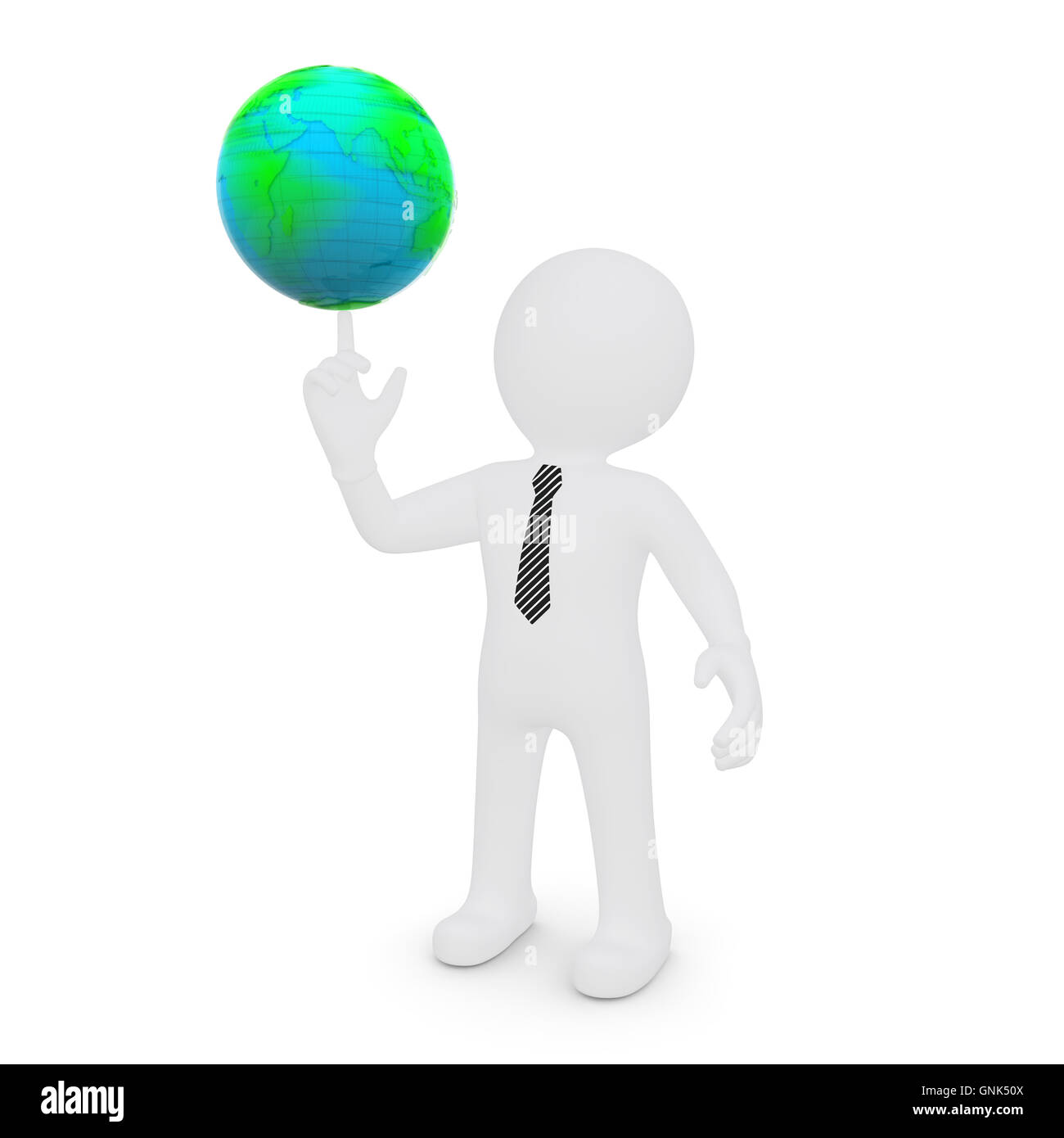 The white man's finger rotates the earth - Stock Image