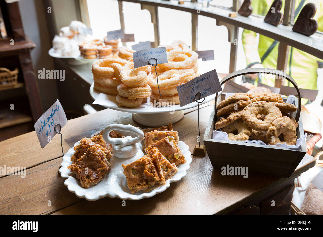 Cakes at period bakery at Den Gamle By, The Old Town, folk museum at Aarhus, Denmark - Stock Image
