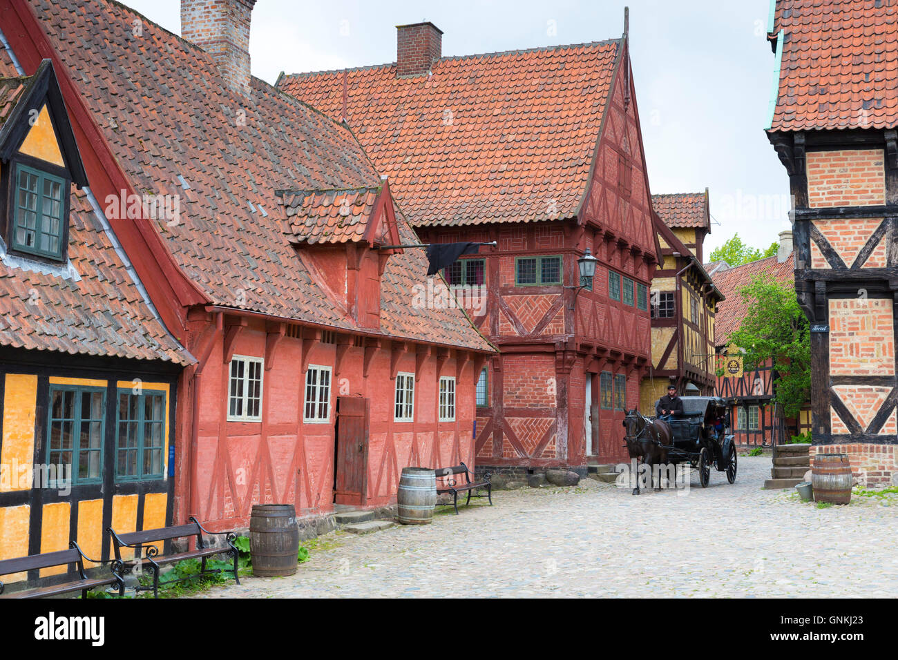 Horse and carriage at Den Gamle By, The Old Town, open-air folk museum at Aarhus,  East Jutland, Denmark - Stock Image