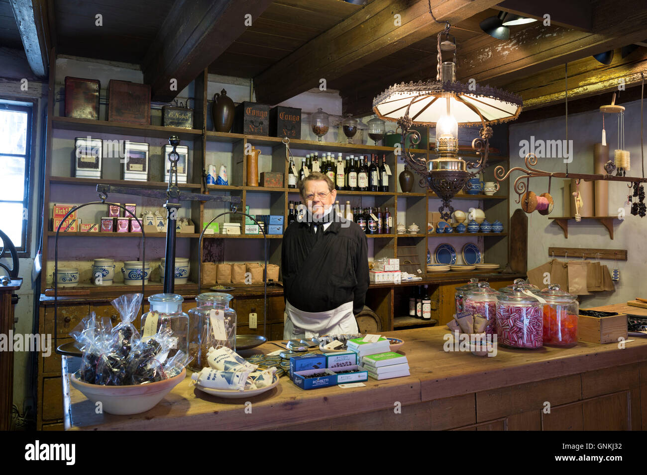 Shop interior at Den Gamle By, The Old Town, open-air folk museum at Aarhus,  East Jutland, Denmark - Stock Image