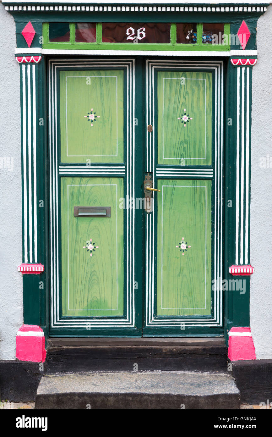 Traditional doorway on a quaint house on Funen in Denmark - Stock Image