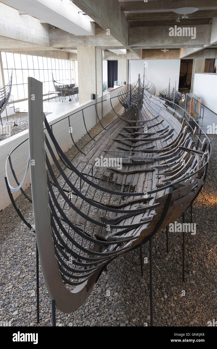 Skuldelev original viking ship longboat exhibit at Roskilde Viking Ship Museum in Zealand, Denmark - Stock Image