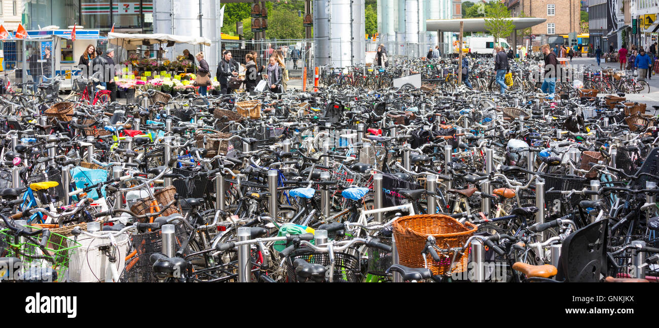 Many hundreds of bicycles at a bike park in Copenhagen on Zealand, Denmark - Stock Image