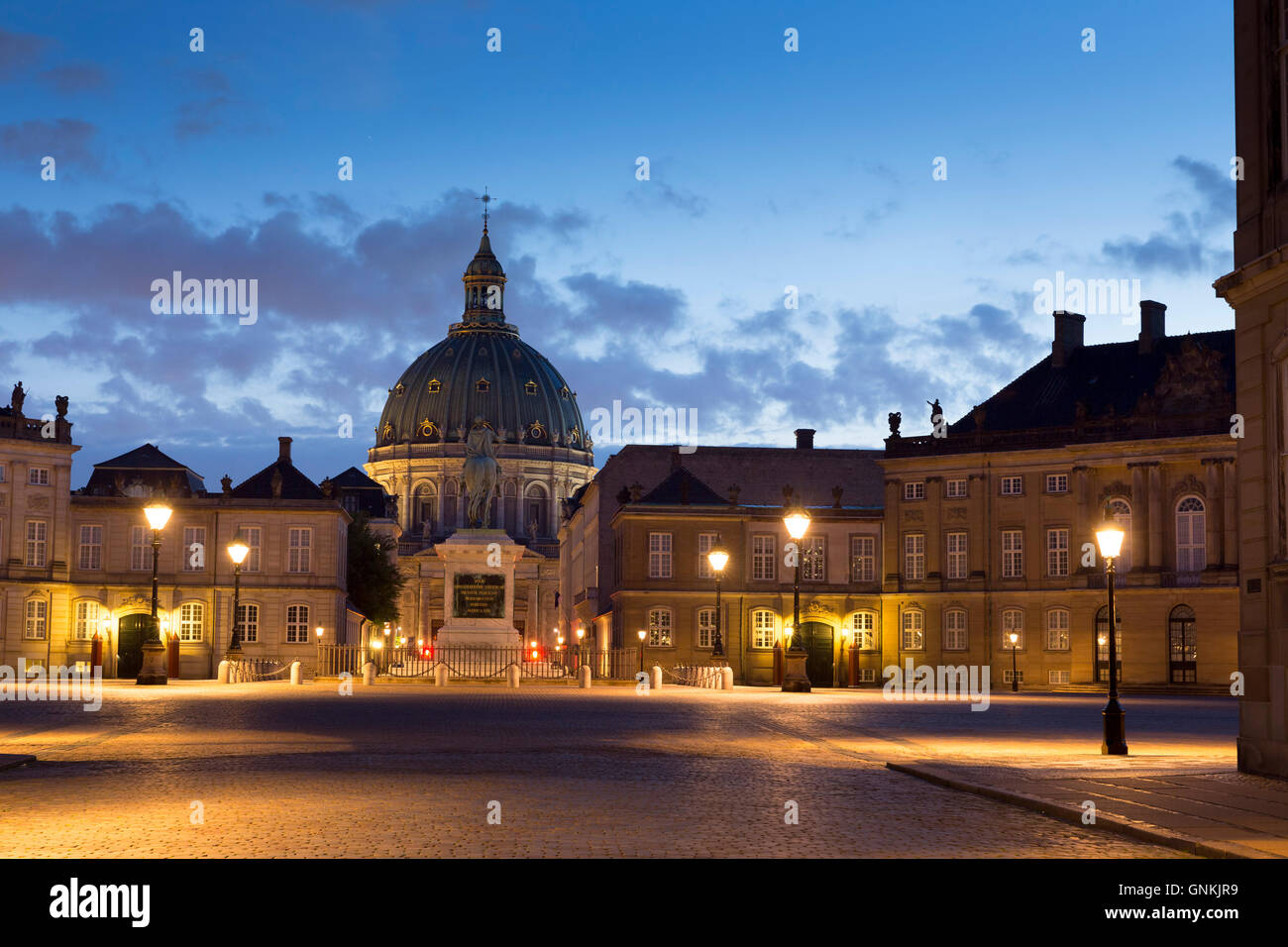 Amalienborg Royal Palace in Copenhagen, Denmark - Stock Image