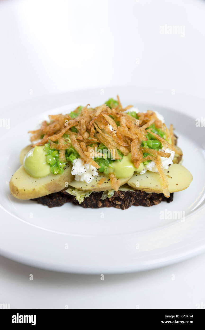 Lunch snacks vegetarian typical Smorrebrod - smorgasbord generic Nordic open sandwich potatoes lentils carrots beans, - Stock Image