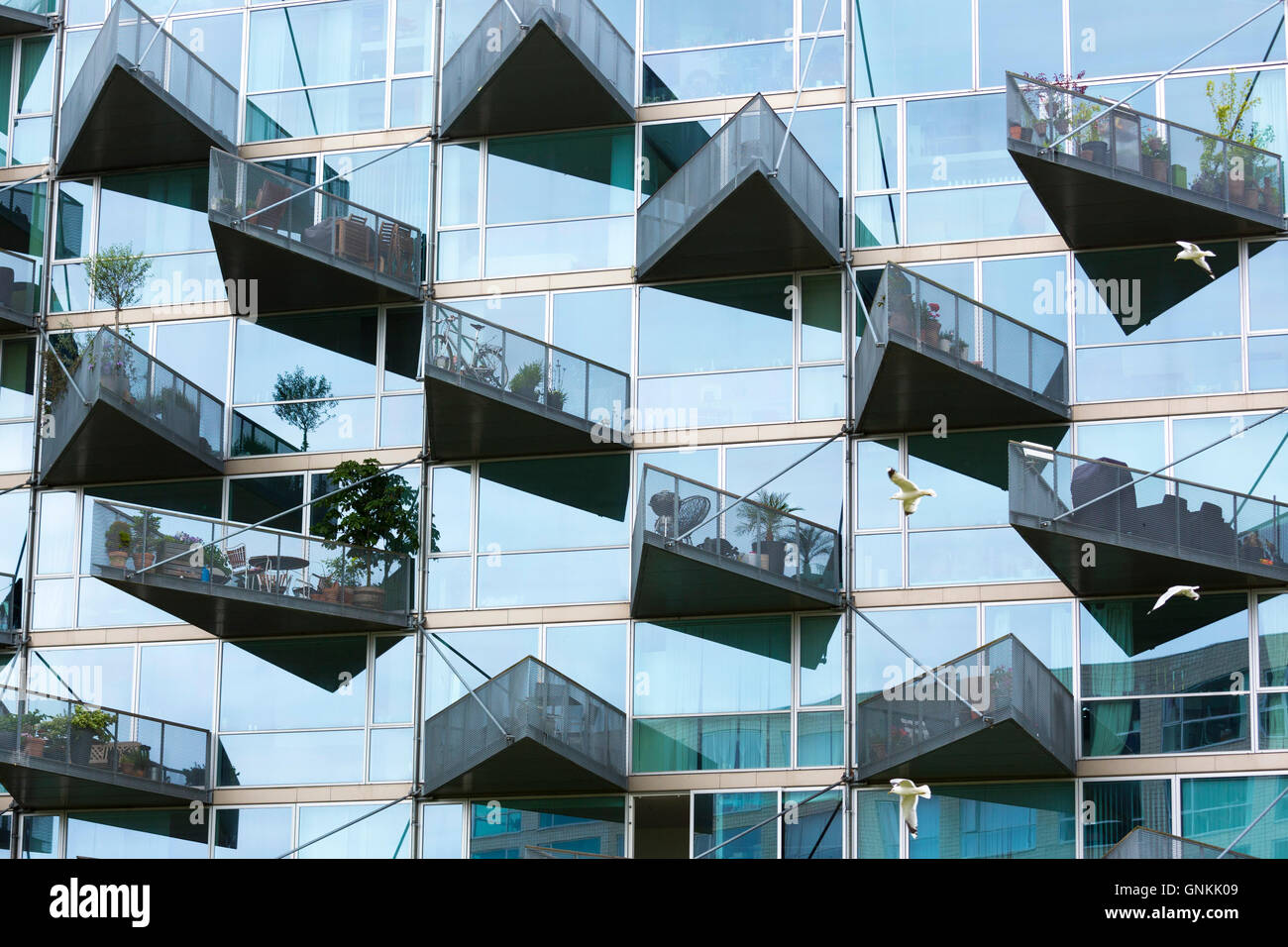 Glass Balcony Modern Architecture New High Rise Homes Development Orestads  Boulevard In Orestad City Area, Copenhagen, Denmark