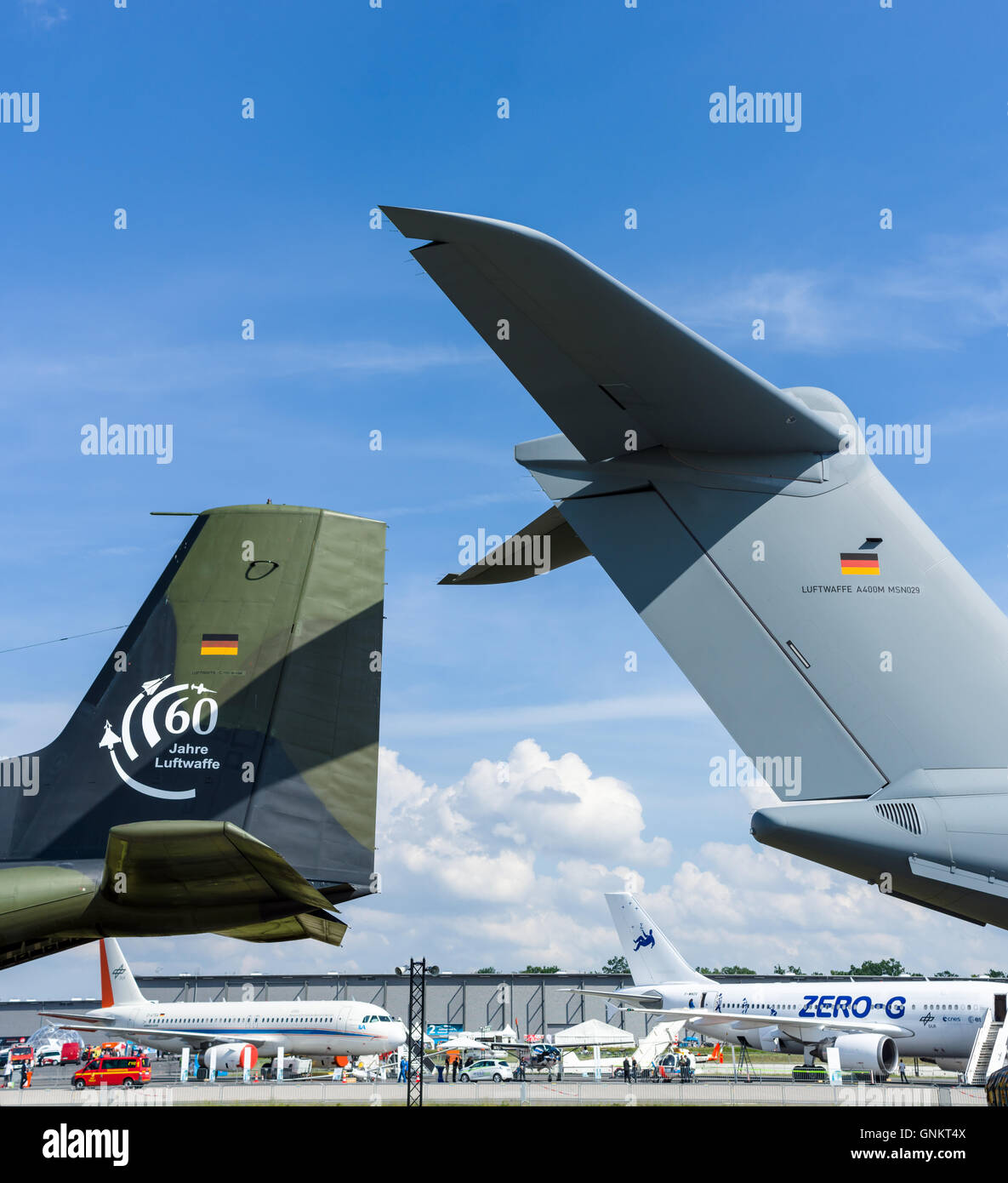 BERLIN, GERMANY - JUNE 03, 2016: Civil and military aircraft on the airfield. Exhibition ILA Berlin Air Show 2016 - Stock Image