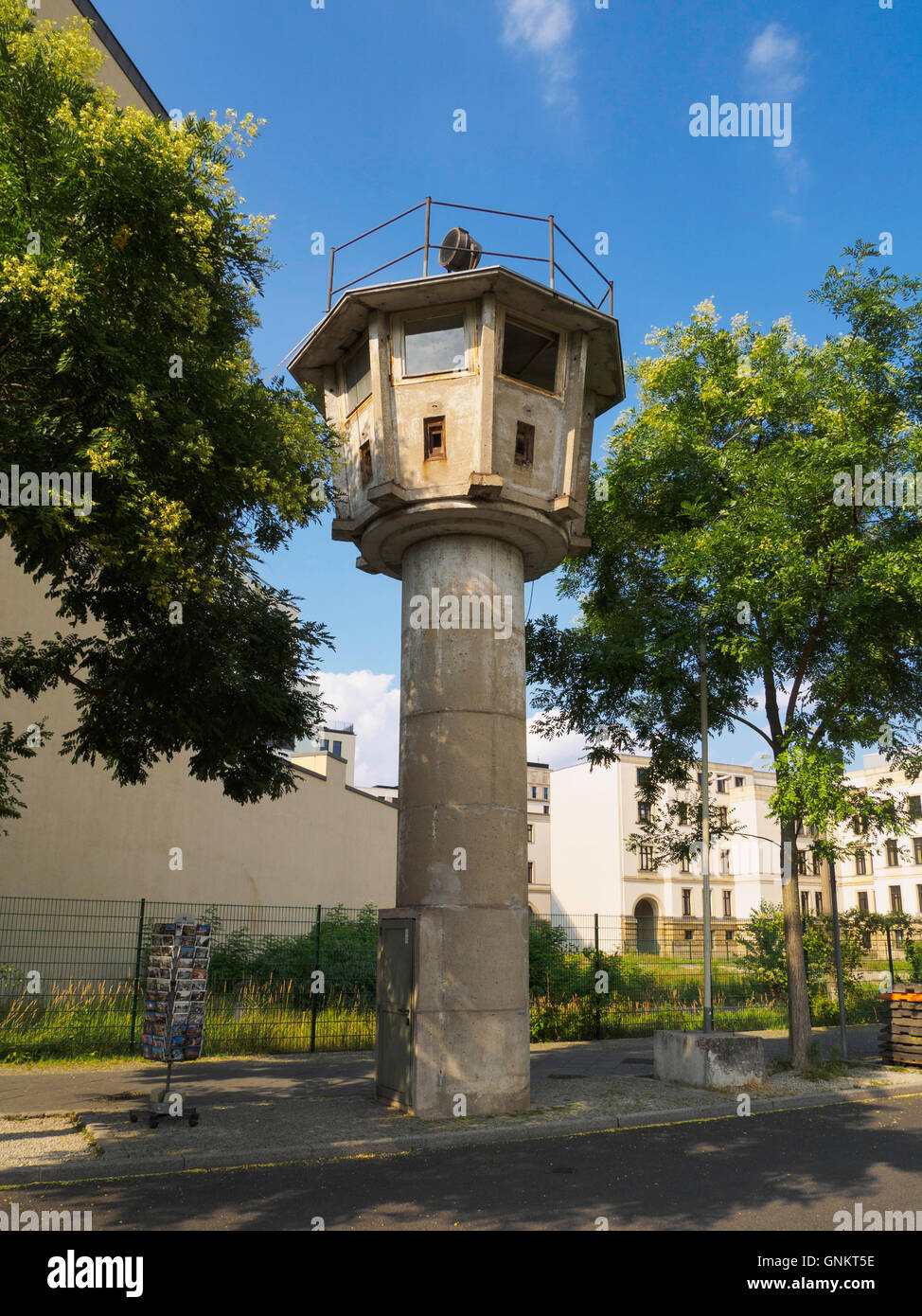 Preserved old East German DDR Berlin wall watchtower near Potsdamer Platz Berlin Germany - Stock Image