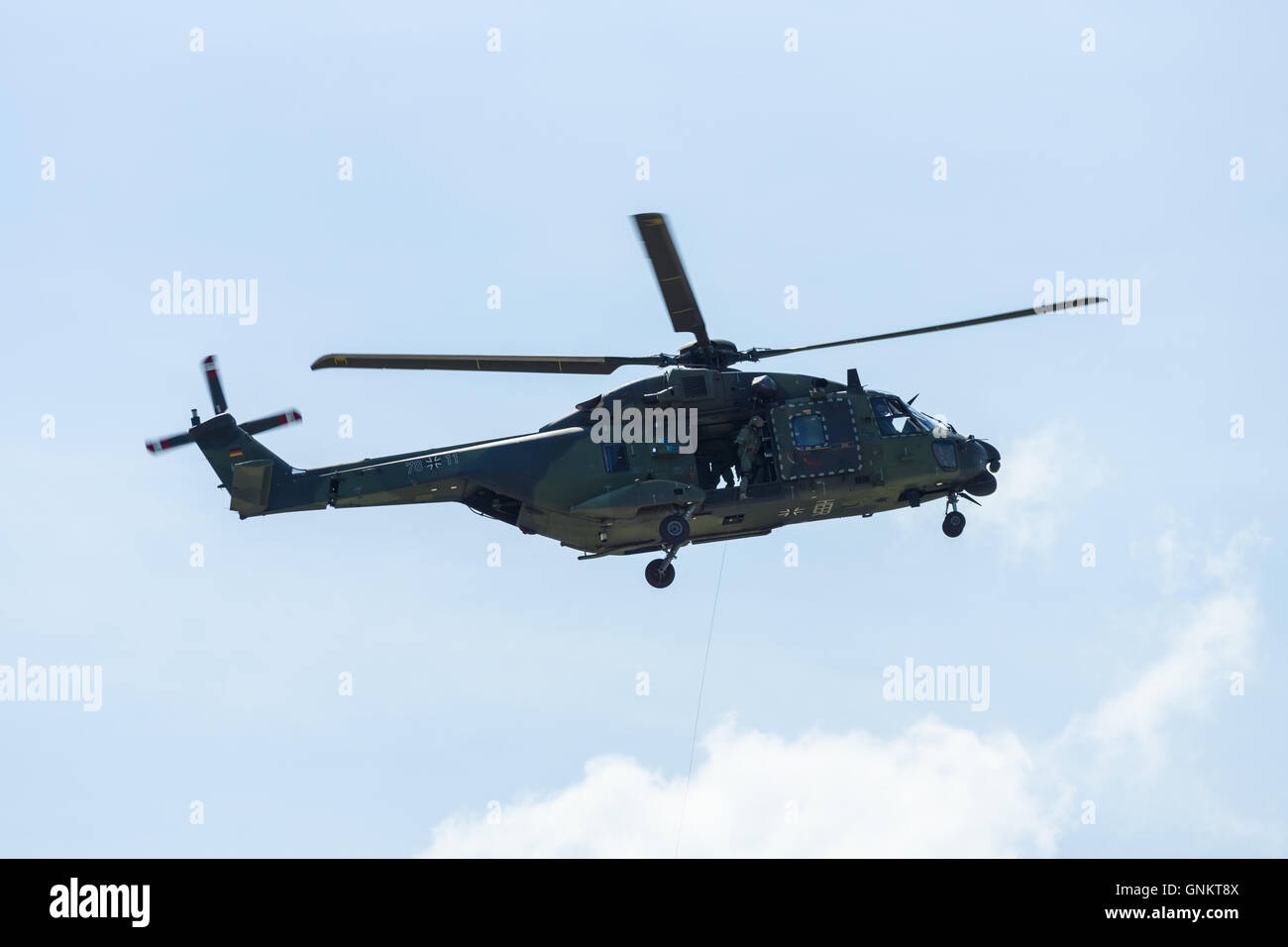Helicopter NH90 of the German Army. Demonstrative performance. - Stock Image