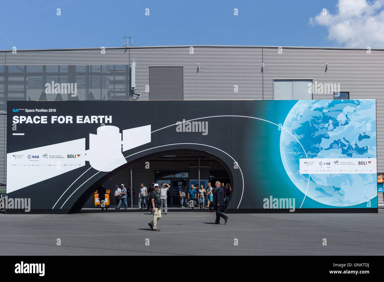 BERLIN, GERMANY - JUNE 03, 2016: Space Pavilion. Exhibition ILA Berlin Air Show 2016 - Stock Image
