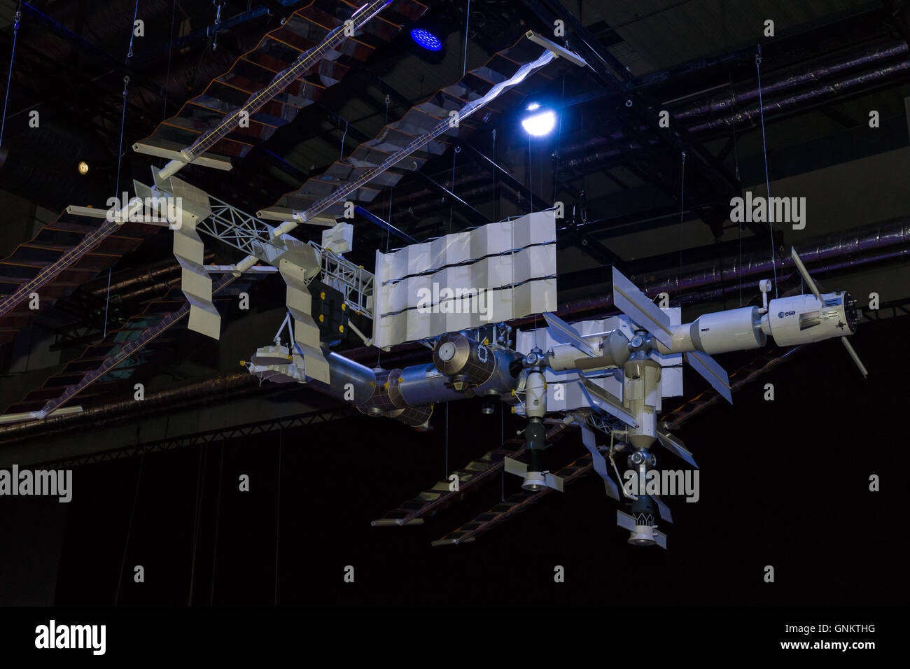BERLIN, GERMANY - JUNE 03, 2016: Model of the International Space Station (ISS). Exhibition ILA Berlin Air Show - Stock Image