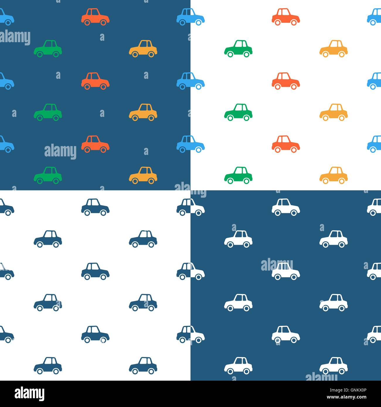 Vector image of seamless car pattern over colored background Stock Vector