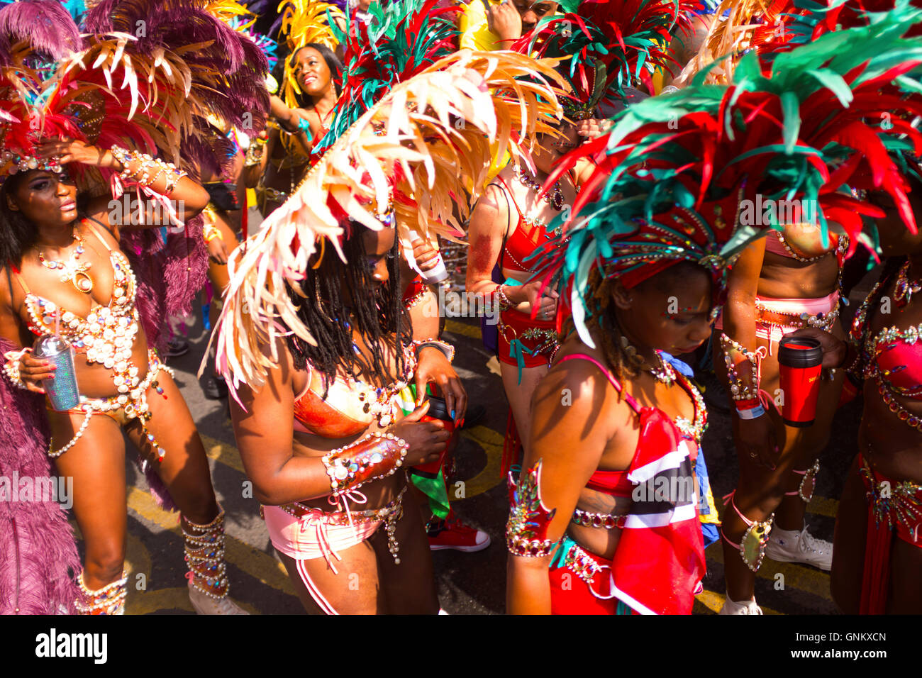 Carnival Masqueraders at the 50th Notting Hill Carnival, London, August 29 2016. - Stock Image