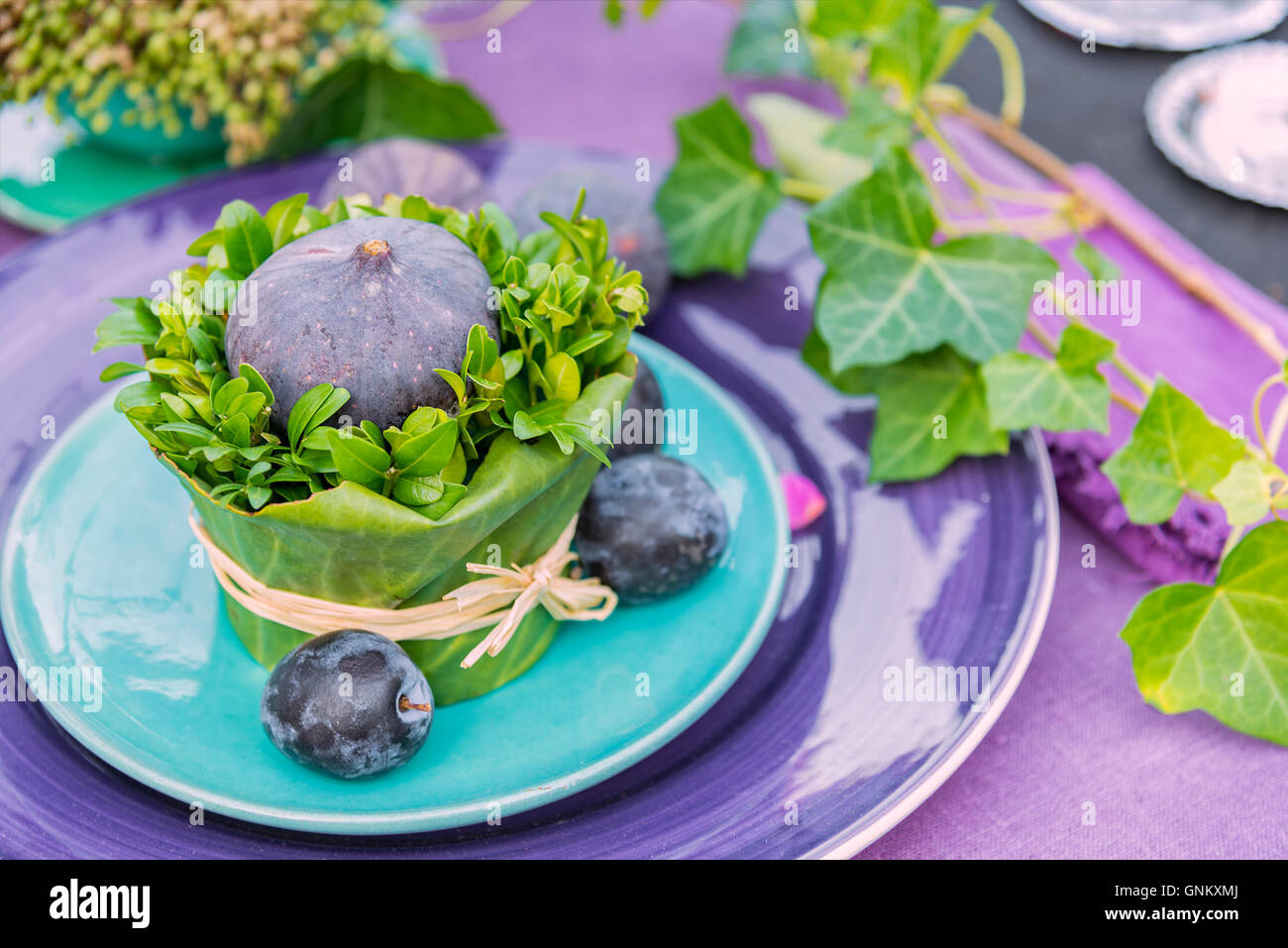 Image of a unique table setting for dinner or party. - Stock Image