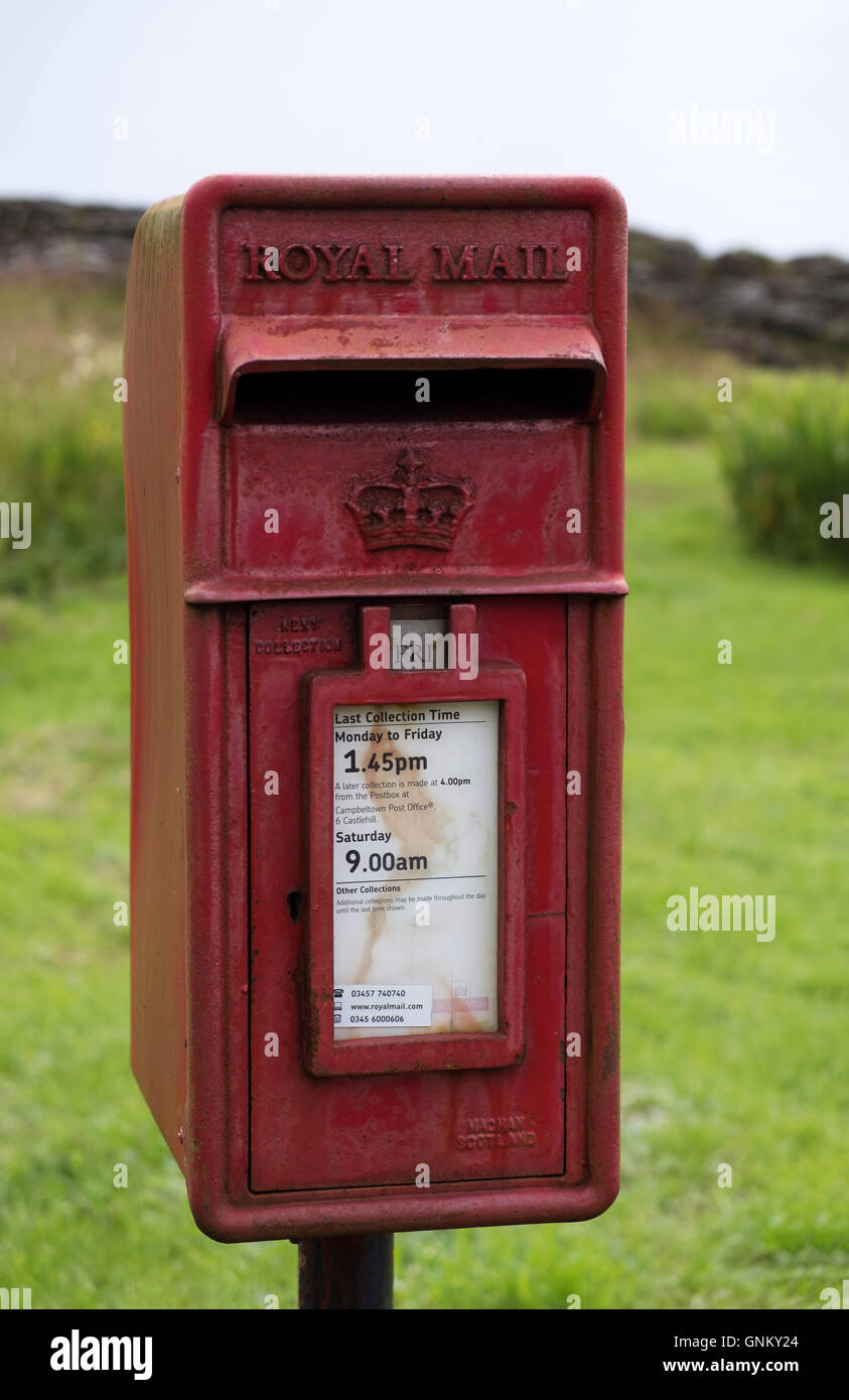 Rural Mail post box in  Scotland, United Kingdom - Stock Image