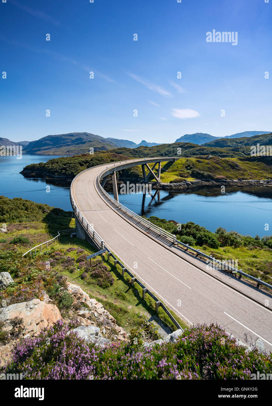 View of Kylesku Bridge on North Coast 500 tourist route in Sutherland, Highland, Scotland , United Kingdom, - Stock Image