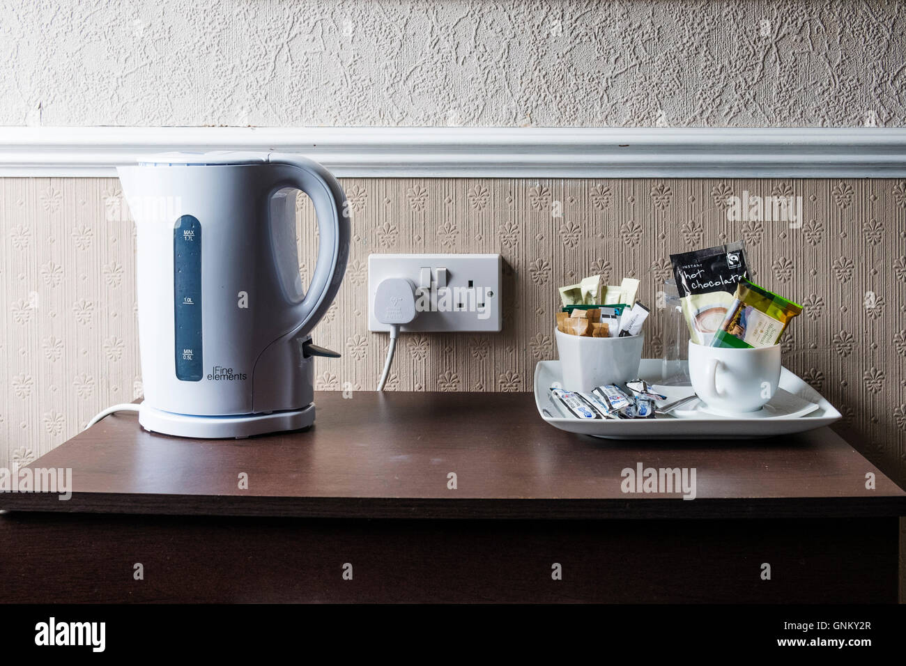 Detail of typical basic tea and coffee making facilities in old fashioned guest house in Scotland, United Kingdom - Stock Image