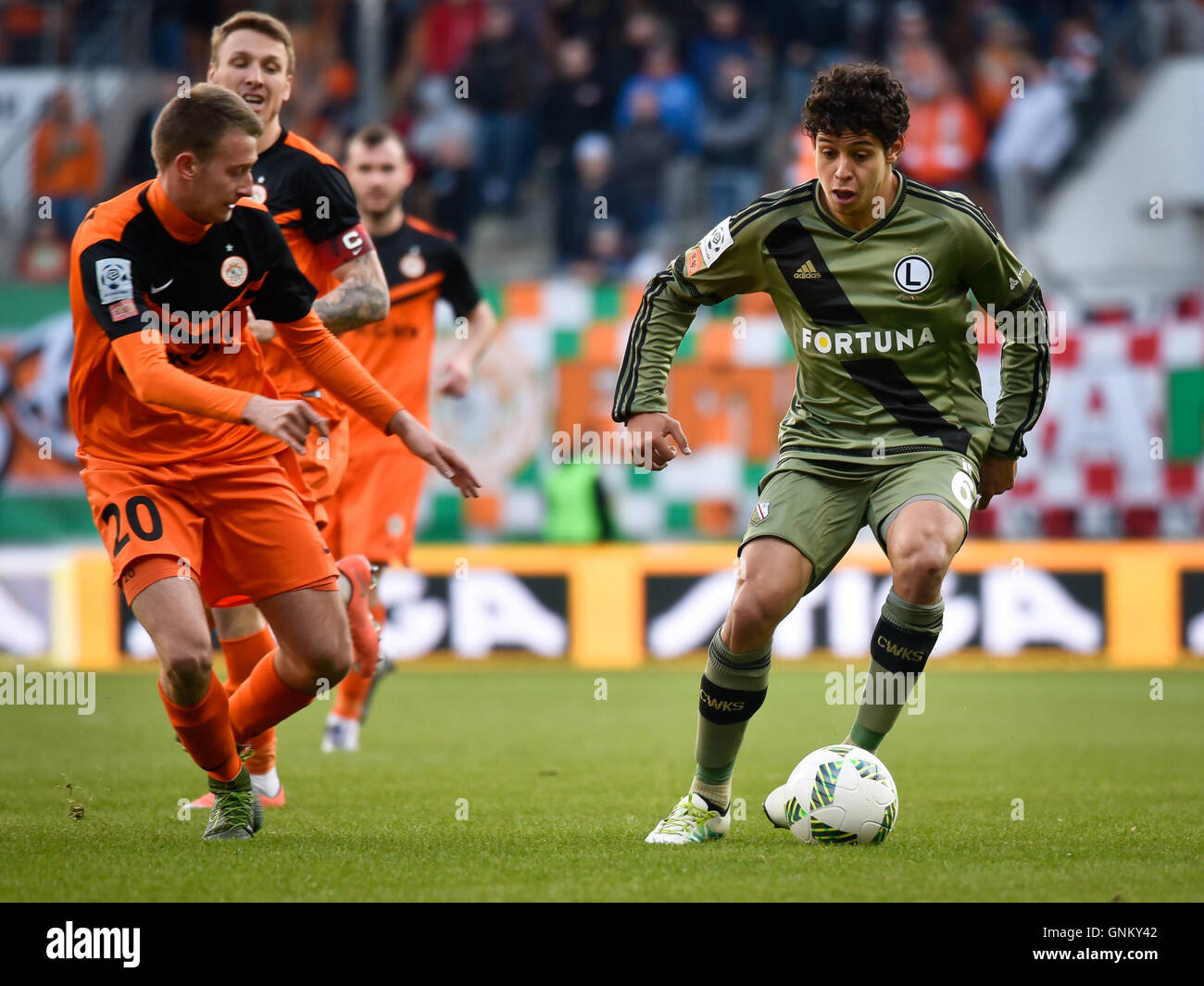 LUBIN, POLAND - APRIL 28, 2016: Match Polish Premer League between KGHM Zaglebie Lubin - Legia Warszawa 2:0. - Stock Image