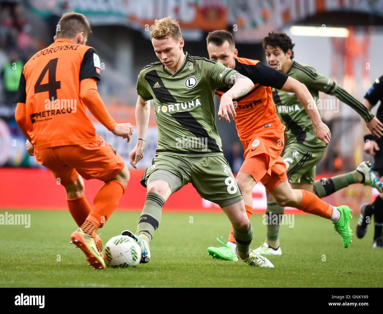 LUBIN, POLAND - APRIL 28, 2016: Match Polish Premer League between KGHM Zaglebie Lubin - Legia Warszawa 2:0. - Stock Image