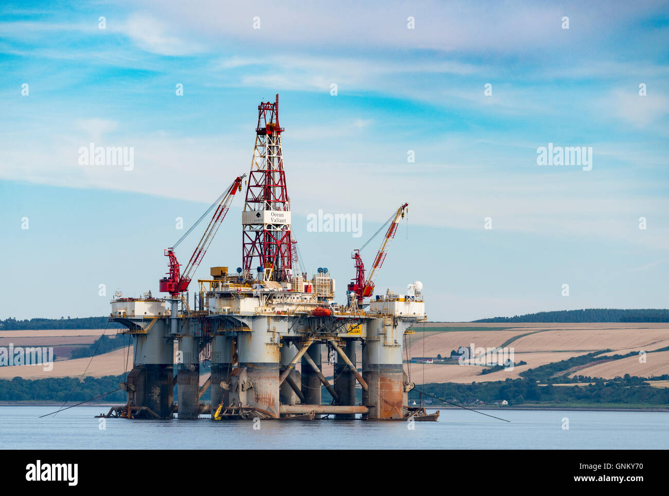 Oil rig/ drilling platform moored in Cromarty Firth in Ross and Cromarty, Highland, Scotland, United Kingdom - Stock Image