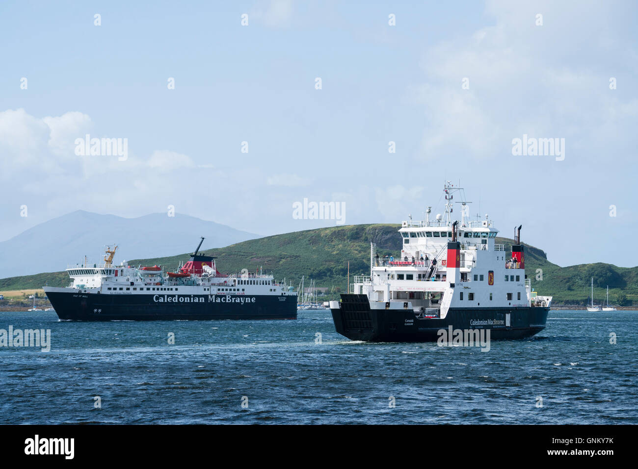 Two passenger ferries operated by Caledonian Macbrayne , Calmac, in Oban harbour in Argyll and Bute , Scotland, Stock Photo
