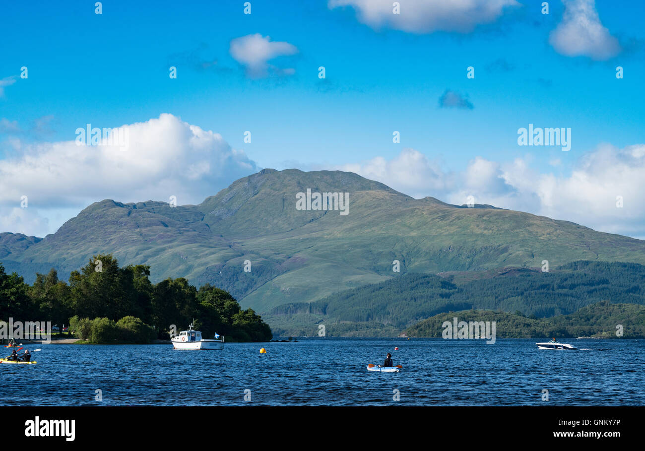 View of Ben Lomond beside Loch Lomond from Luss in Argyll and Bute, Scotland, United Kingdom - Stock Image