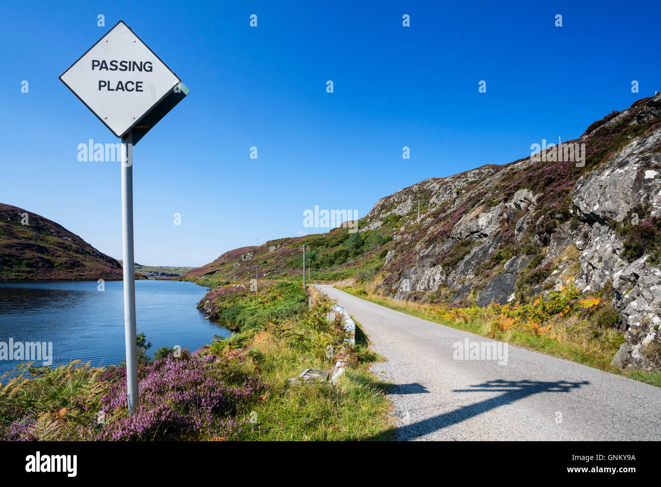 Remote highway B869 part of North Coast 500 tourist route, in Highland Region in summer, Scotland, United Kingdom - Stock Image