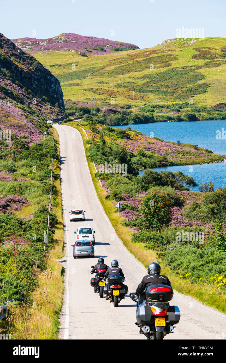 Remote highway A894 part of North Coast 500 tourist route, in Highland Region, near Scourie north Scotland in summer,United - Stock Image