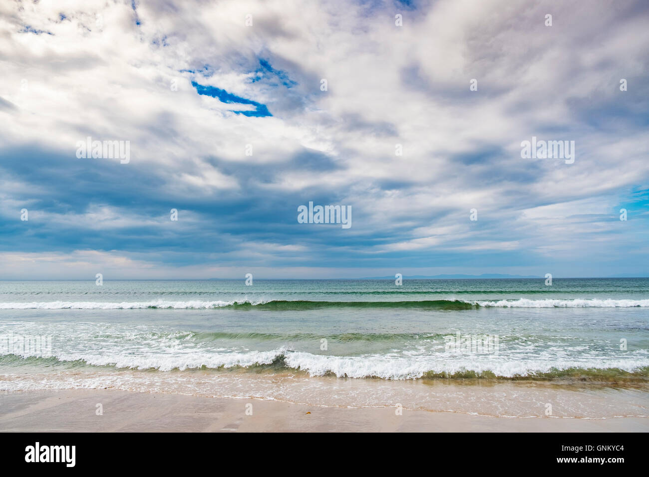 View of beach and sea at Machrihanish on Mull of Kintyre in Scotland , United Kingdom. - Stock Image