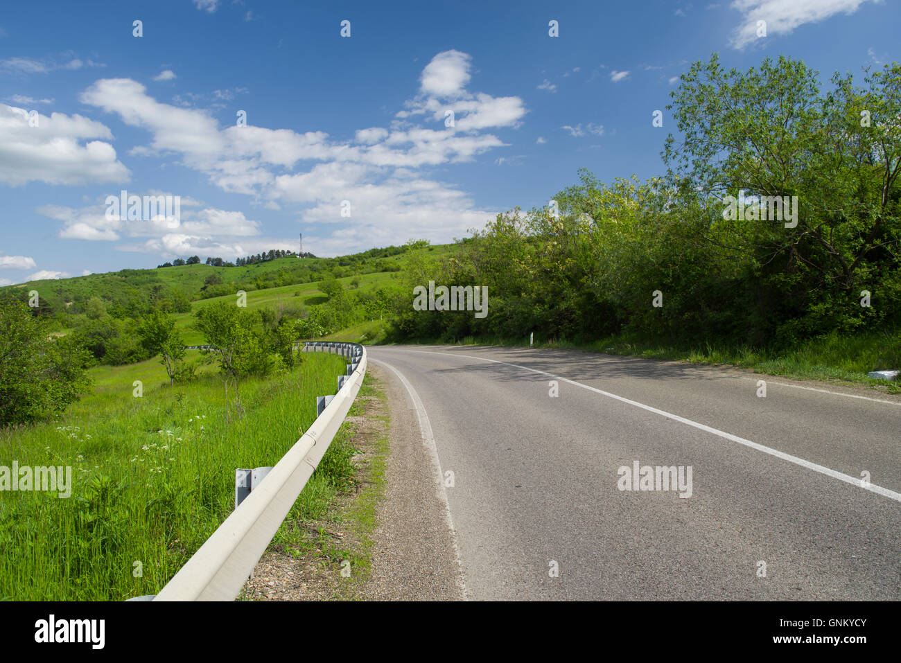 Highway on the hill in the summer, Romanian road - Stock Image