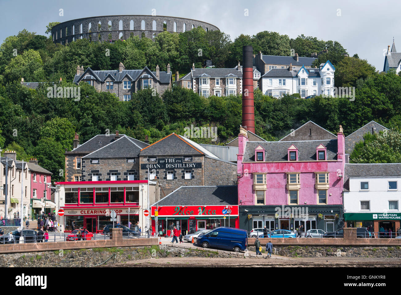 View of buildings in central Oban, Argyll and Bute, Scotland, United Kingdom - Stock Image