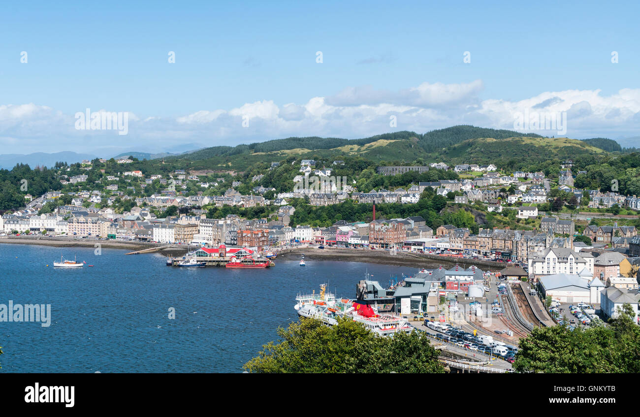View over town of Oban in Argyll and Bute, Scotland, United Kingdom - Stock Image