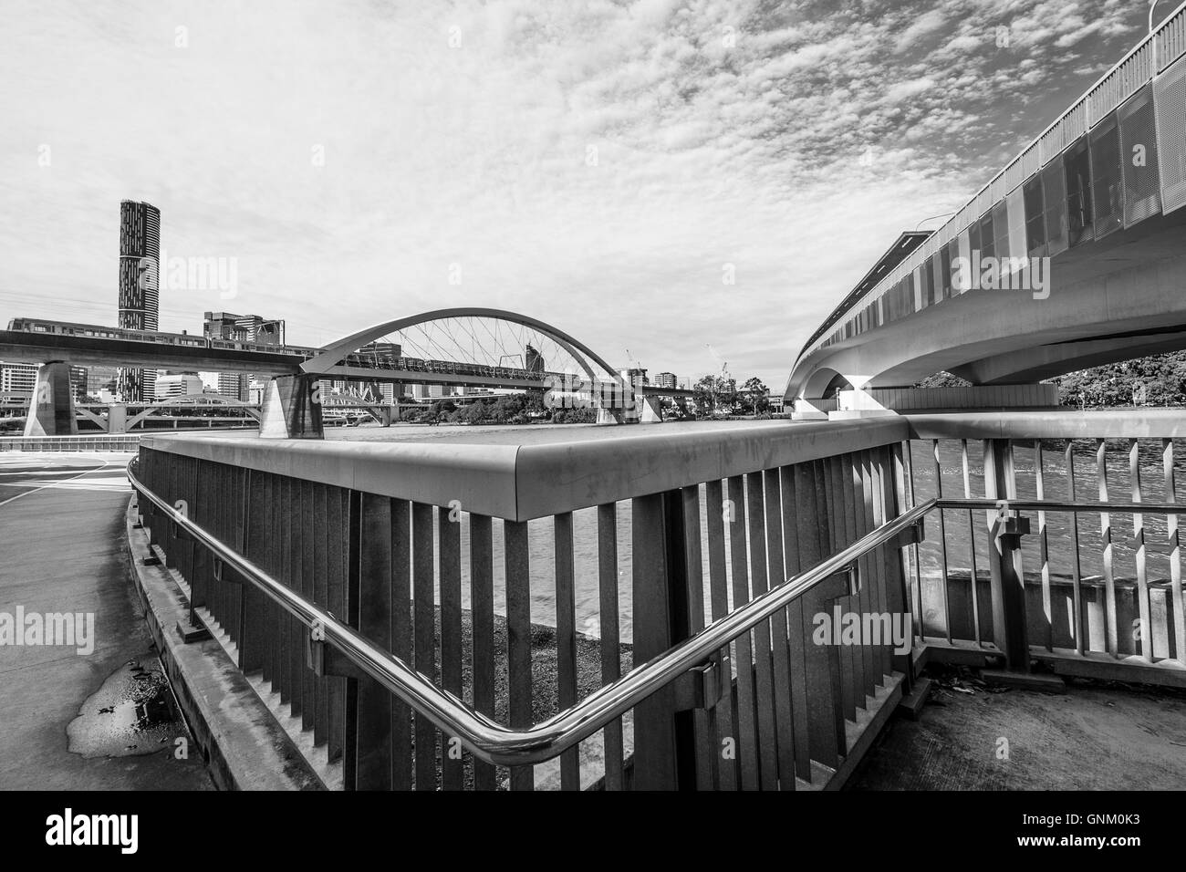 Victoria Bridge and downtown Brisbane - Stock Image