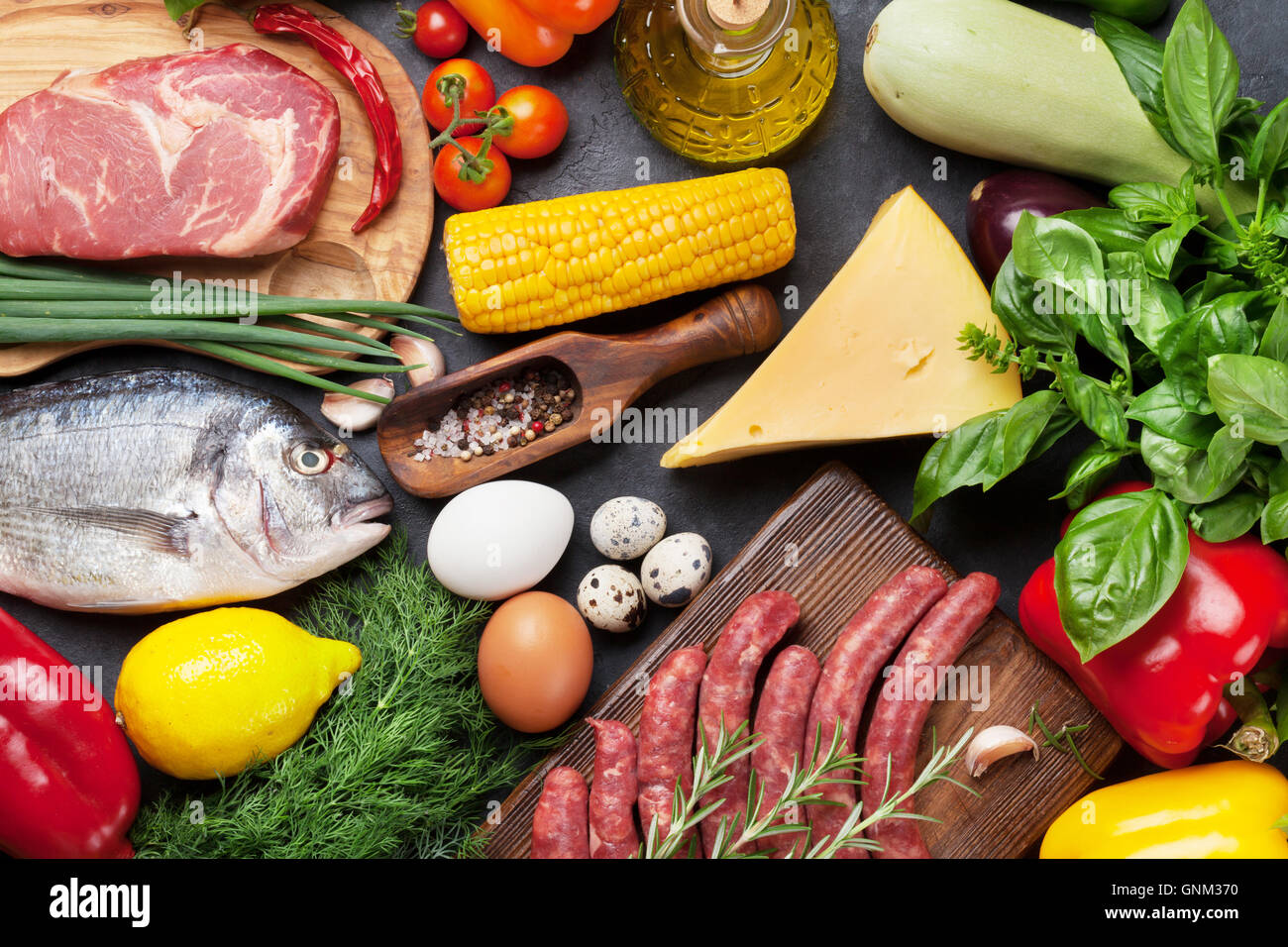 Food Protein Meat Fish Eggs Stock Photos & Food Protein Meat