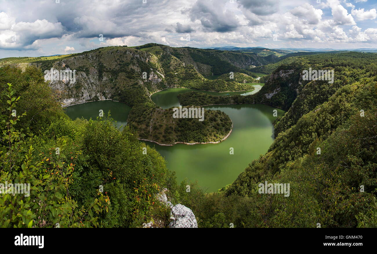 View at meanders of Uvac river in Serbia - Stock Image