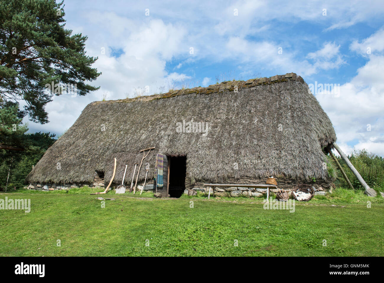 Traditional style croft house at the open air Highland Folk Museum in Newtonmore, Highland, Scotland - Stock Image