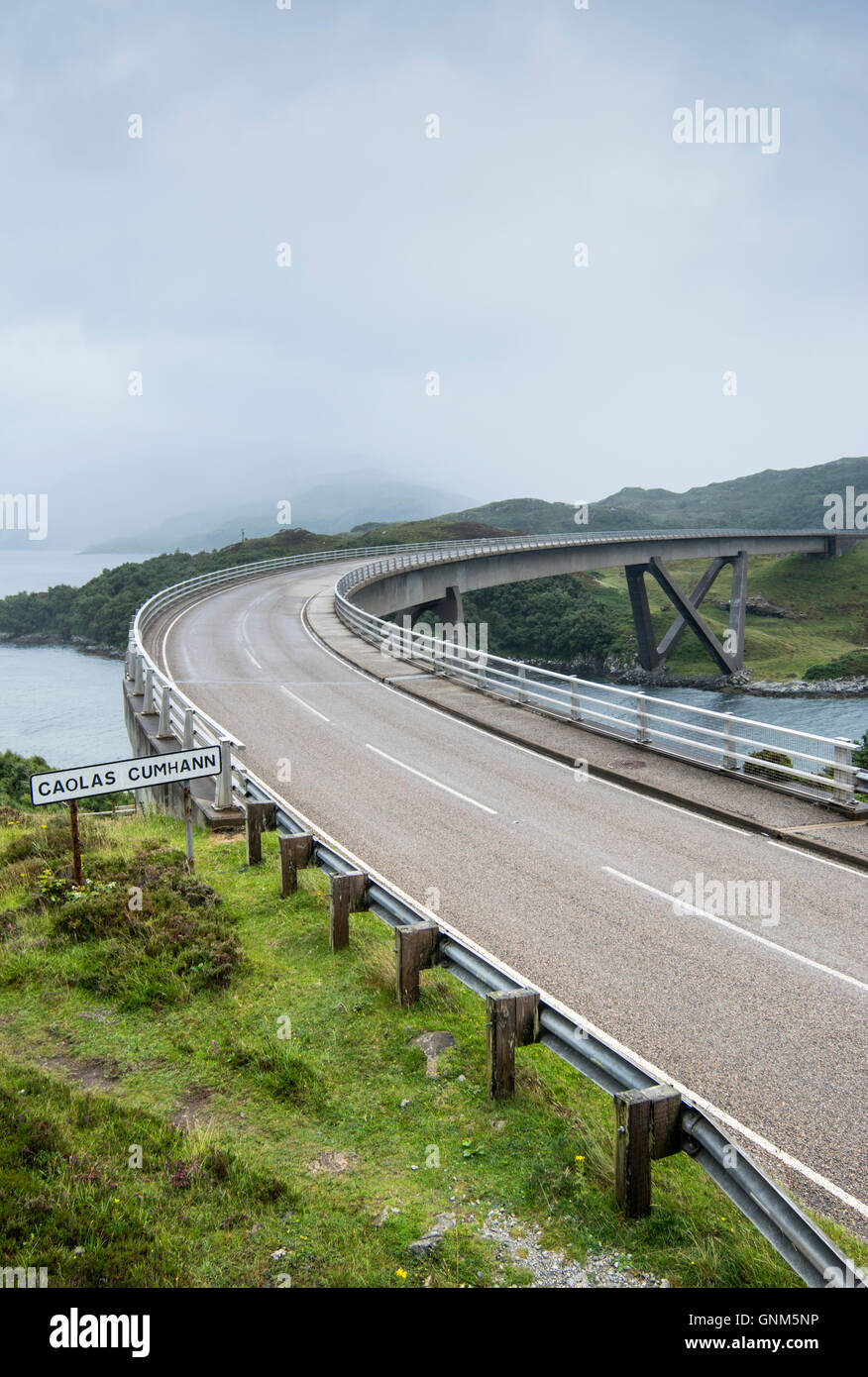 Kylesku Bridge, which, crosses the Loch a Chairn Bhain in Sutherland, Scotland, and is part of the North Coast 500 - Stock Image