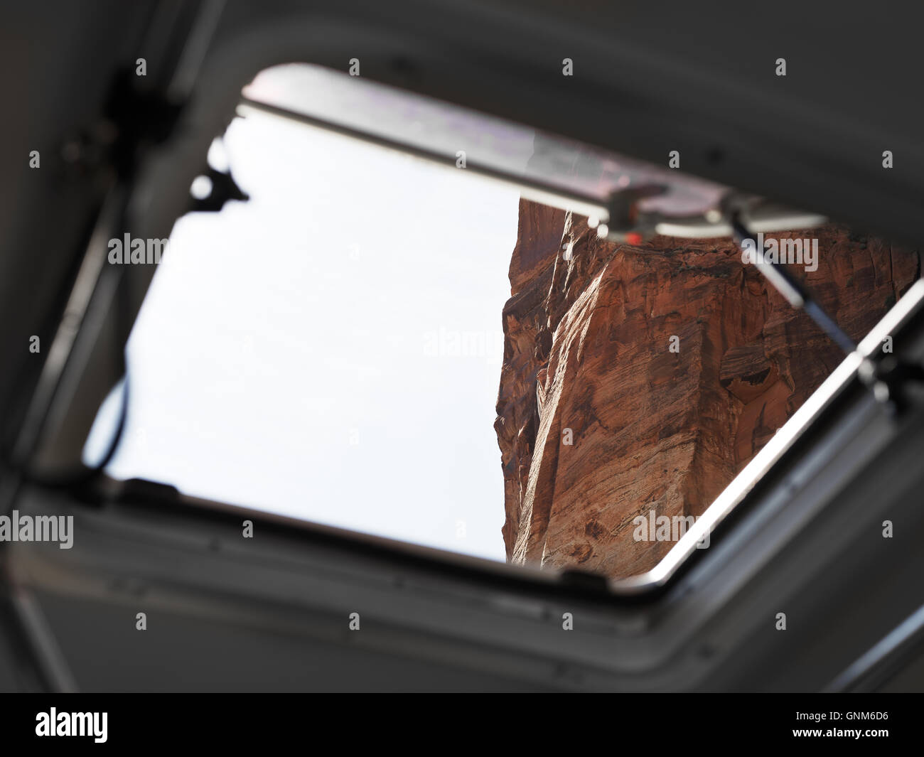 Looking out of a bus in Zion National Park - Stock Image