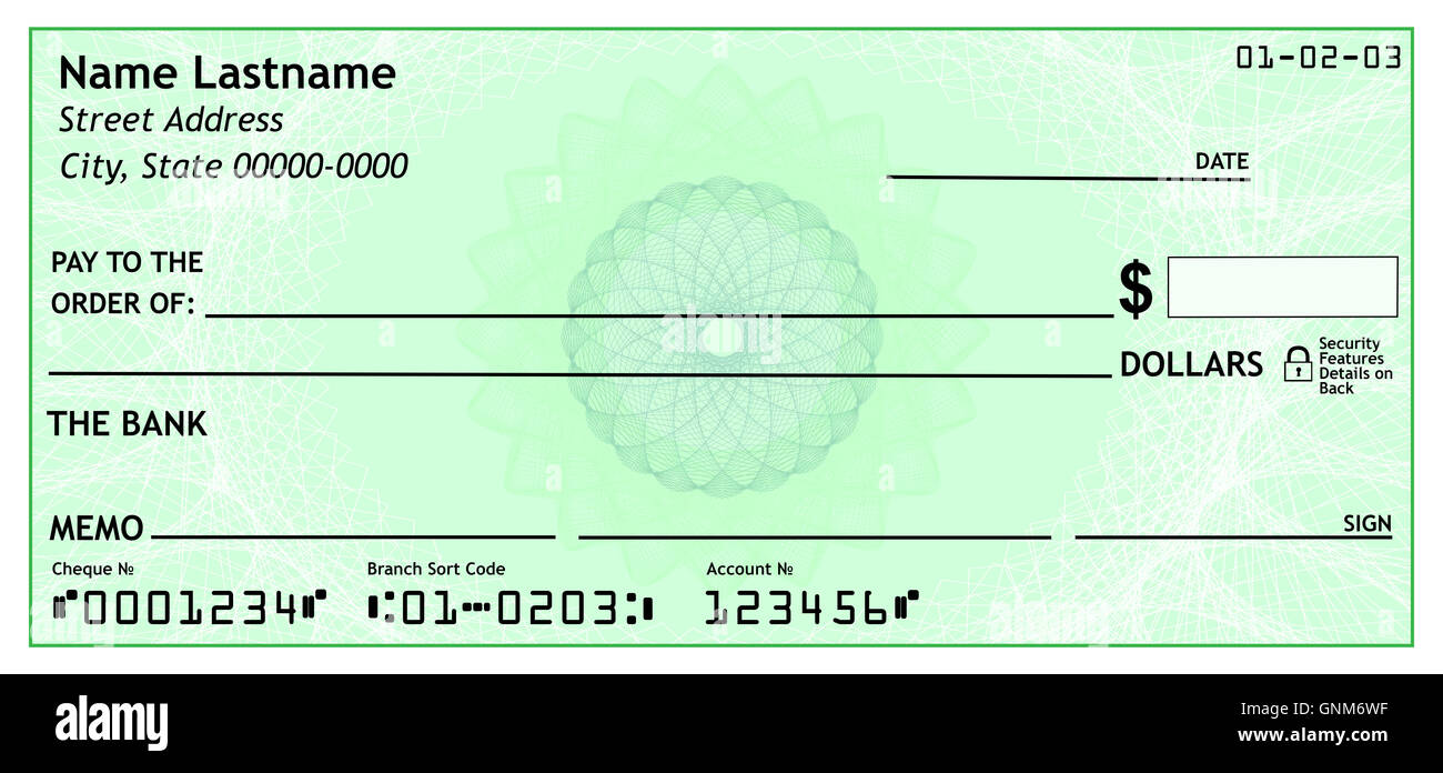 Blank bank check, 3D rendering isolated on white background
