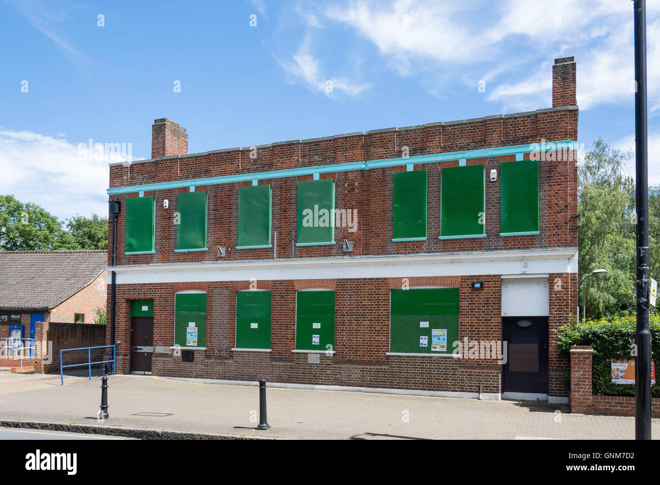 Secured empty property, Shepperton High Street, Shepperton, Surrey, England, United Kingdom - Stock Image