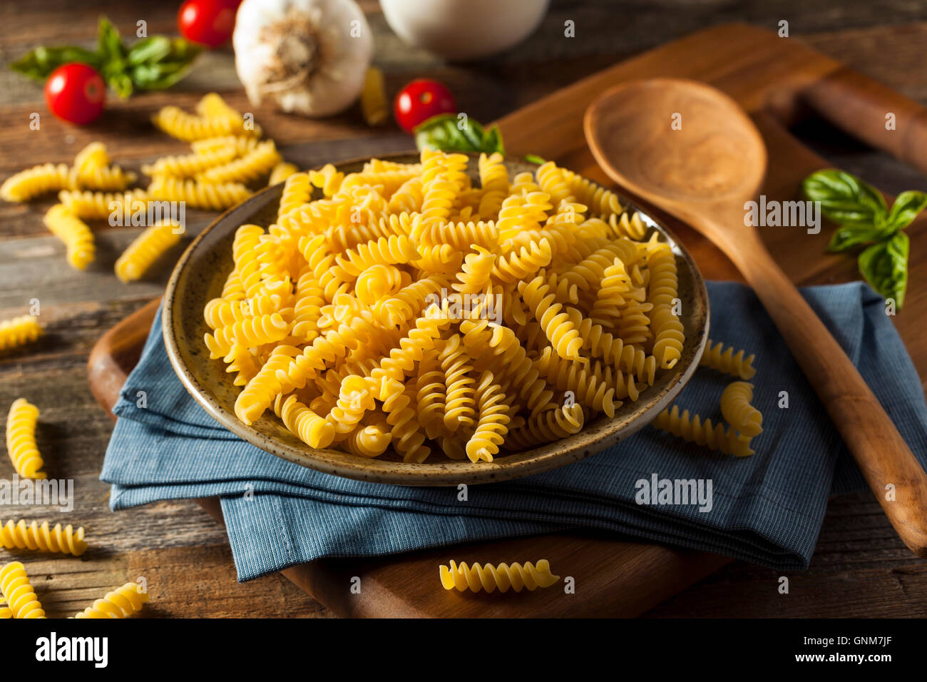 Raw Dry Organic Fusilli Pasta Ready for Cooking - Stock Image