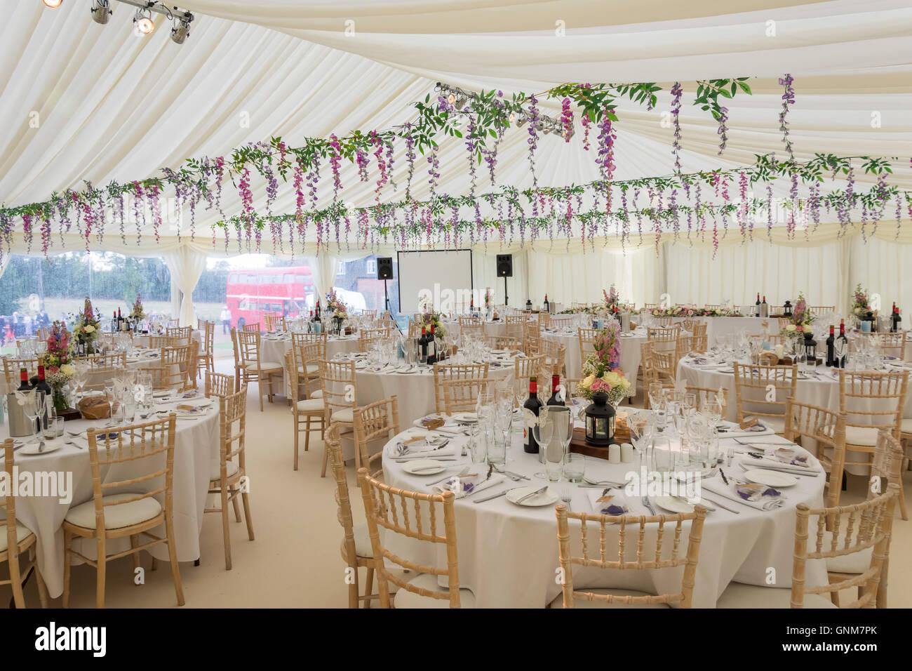 Wedding marquee ready for wedding guests, Preston Bissett, Buckinghamshire, England, United Kingdom Stock Photo