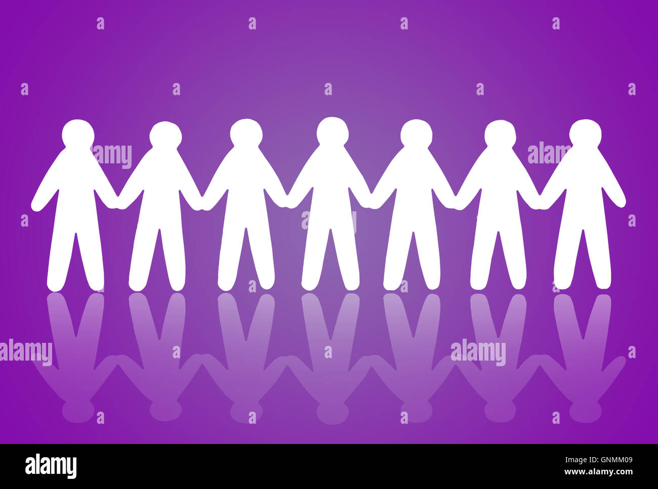 team of paper people on violet background Stock Photo
