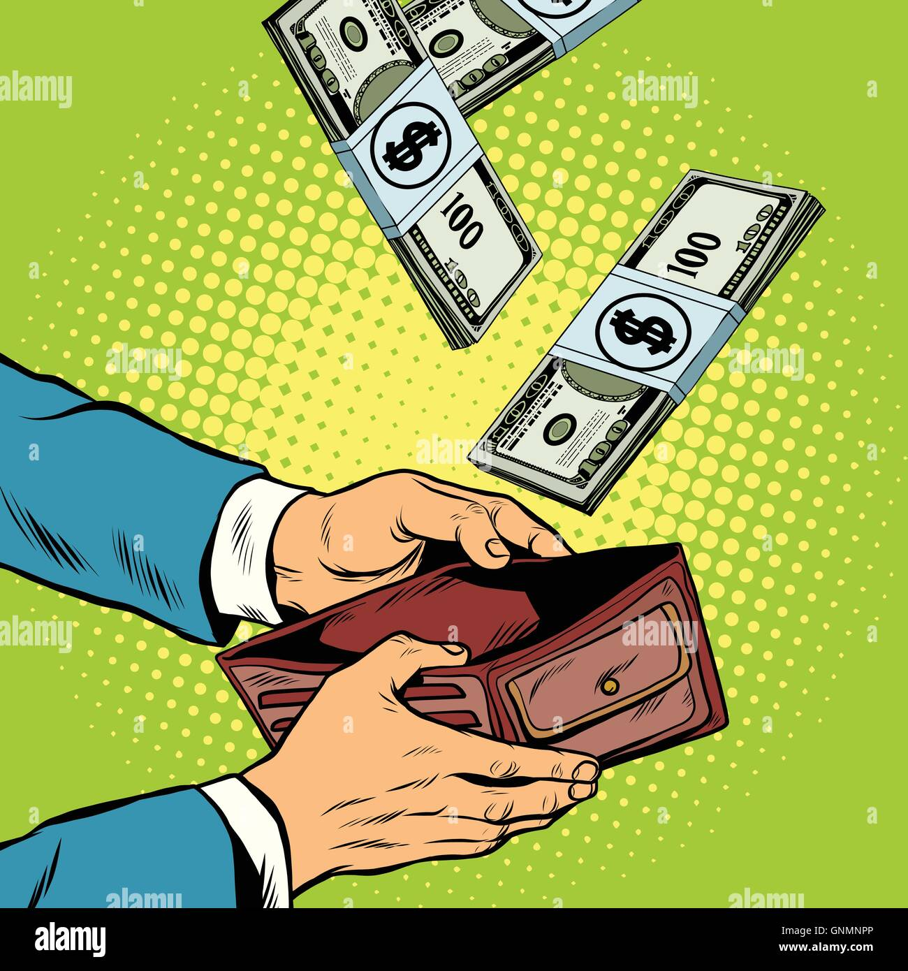 Money falling into wallet, financial profits and wealth - Stock Image