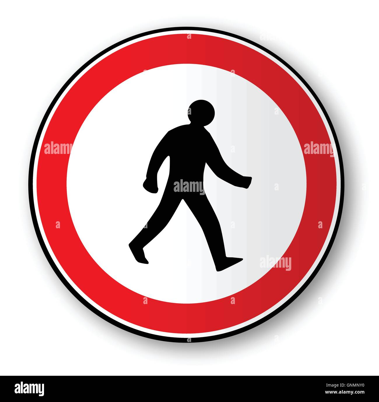 Walking Man Road Traffic Sign - Stock Image